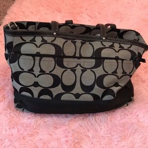 Authentic coach diaper bag. Gray and black
